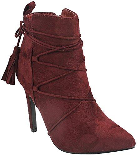 Jjf Chaussures Femmes Audrey Gland Décor Bout Pointu Faux Suède Zip Doux  Fourré Stiletto Talon Cheville 3570cdb65a4