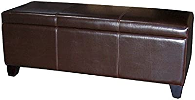 """New Pacific Direct 194448B-01 Luisa 48"""" Bonded Leather Storage Ottoman Furniture, Brown"""
