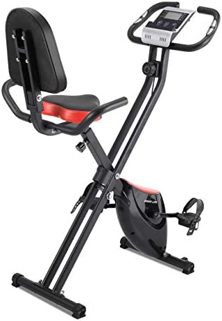 IDEER Folding Exercise Bike,Foldable Magnetic Upright Exercise Bike with 8 Resistance Levels,Heart Rate,Speed,Time,Distance,Calorie Monitor,Fitness Stationary Exercize Bike w Phone Holder.
