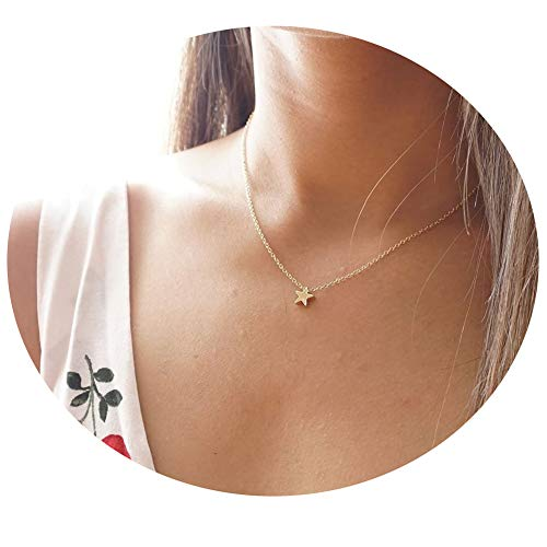 Befettly Gold Star Necklace, Mini Cute 14k Gold Plated Dainty Celestial Tiny Star Necklace NCK-Star-GD]()