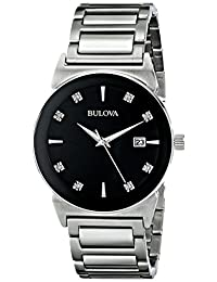 Bulova 96D121 Men's Diamond Quartz Watch with Black Dial and Stainless Steel Strap