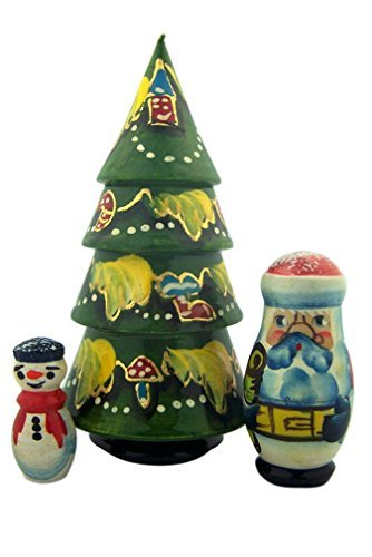 Christmas Tree Santa Claus and Snowman 3 Piece Linden Wood Russian Nesting Doll 4 1/2 Inch