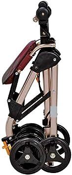 SISHUINIANHUA Andador Plegable Walker Heavy Duty Cesta de la Compra con el capítulo de Asiento médica Andadores Vespa Sistema de Frenos Coche Doble, 4 Ruedas Usados para Mayores (Color: Marrón)