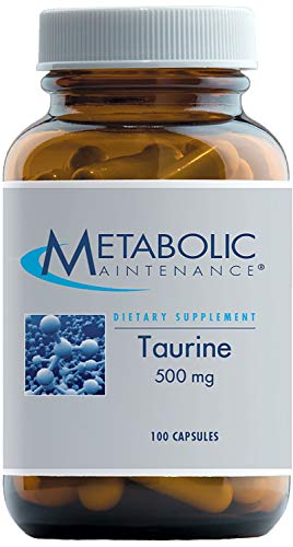 Metabolic Maintenance Taurine - Pure 500 mg No Fillers, Supplement for Brain Support (100 Capsules)