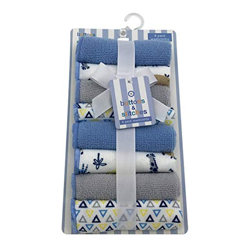 Cudlie Accessories Buttons & Stitches Unisex Baby 8 Pack Rolled Wash Cloth, with Safari Print