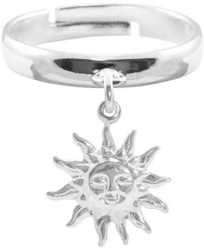 BodySparkle Body Jewelry Sun Knuckle Ring-Adjustable Silver Color Dangle Sun Top Finger Ring-Midi Ring for Women-Teen Girls
