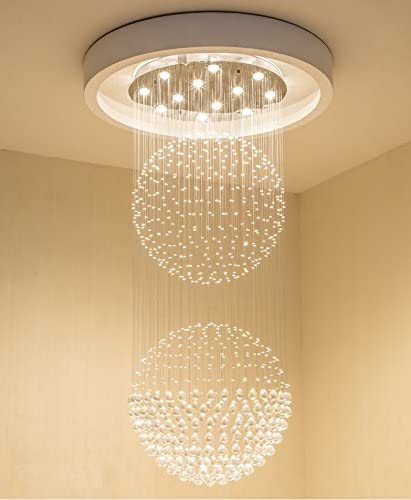 Saint Mossi Modern Crystal Raindrop Chandelier Lighting Flush Mount LED Ceiling Light Fixture Pendant Lamp