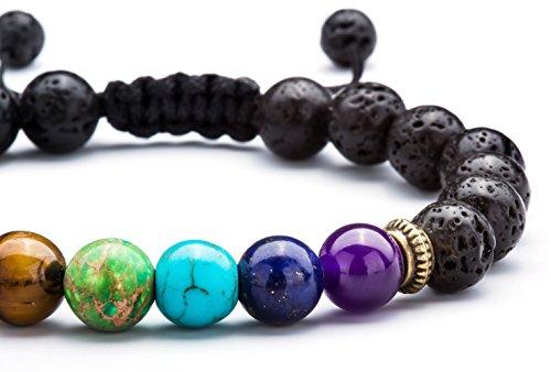 Hamoery Men Women 8mm Lava Rock Chakra Beads Bracelet Braided Rope Natural Stone Yoga Bracelet Bangle(Lava Chakra)