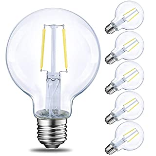 LED Globe G25 Dimmable Edison Light Bulb, 40 Watt Equivalent, 5000K,350LM, E26 Medium Screw Base LED Edison Light Bulb, UL Listed, 6-Pack