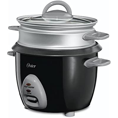 Click for Oster CKSTRCMS65 3-Cup Uncooked resulting in 6-Cup Cooked Rice Cooker with Steam Tray, Black