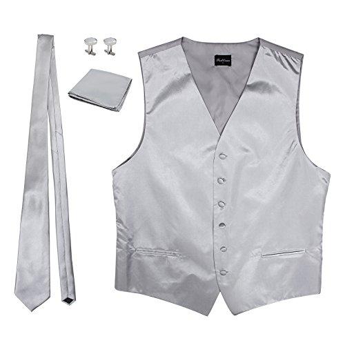 Neoteck Men's Dress Vest NeckTie Hanky Cuff-link Solid Color Waistcoat Neck Tie Set Wedding Prom Casual Suit- Silver Grey ()