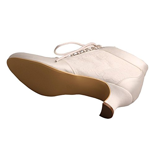 up Almond Boots Wedopus Satin MW188 Pumps Bridal Shoes Lace Ivory Heel Short Wedding Women's Lace Toe wXBUEqS