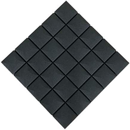 オーディオビジュアルルーム音響パネル、10PCSスクエアメトープ屋内録音スタジオピアノルーム多機能装飾吸音コットン (Color : Black)