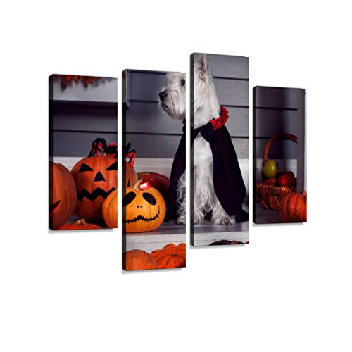 Dog in Halloween Dracula Costume Canvas Wall Art Hanging Paintings Modern Artwork Abstract Picture Prints Home Decoration Gift Unique Designed Framed 4 -