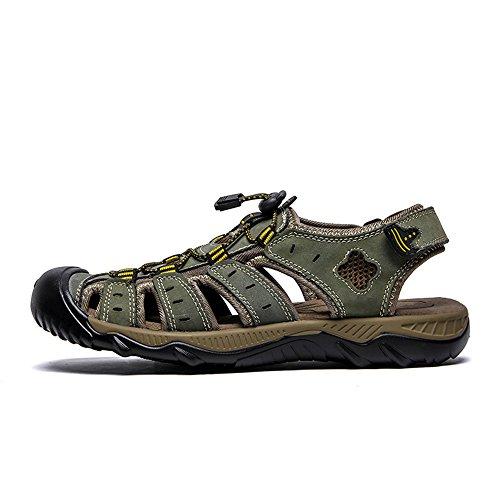 Sudor Zapatillas Qingqing para Pescador Cuero Sandalias de Cerrados Respirables Hombres Hombres Cuero Green de Sandalias Verano para de Ajustables Antideslizantes Sandalias abs de Playa de vqvEwB8trx