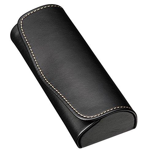 Disney Princess Womens Eyeglasses - M-world Compact Glasses Case Hard Shell,Faux Leather,Stitching Stylish, (Black)