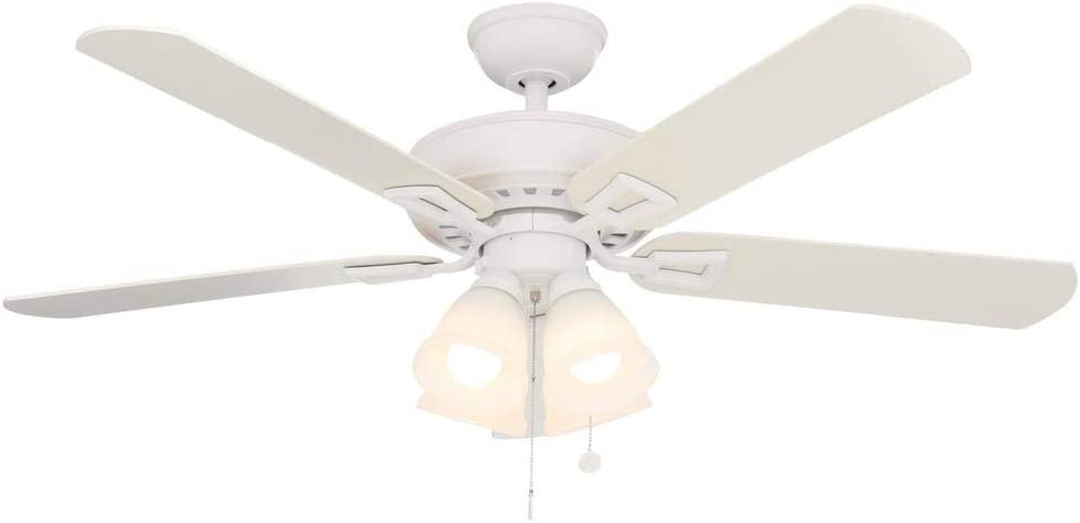 Deals on Hampton Bay Lyndhurst 52-in LED Matte Ceiling Fan w/Light Kit