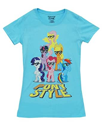 My Little Pony Mane 6 Pony Style with Glasses Juniors Sky Blue T-Shirt (Juniors Small)
