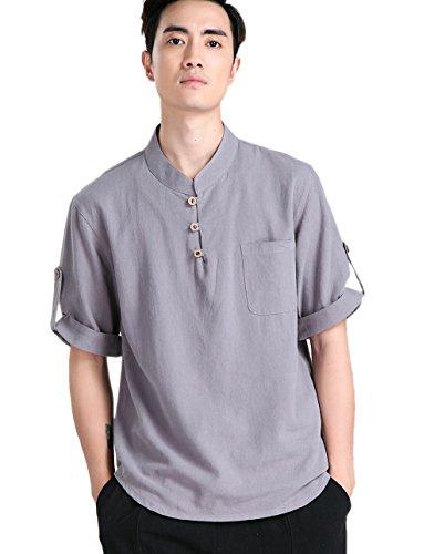 Chi De Devant Acvip Traditionnel En Chinois Kung Tang Fu Lin Veste Poche Tai Blouse Chemise Pour Gris Homme IH5Fq