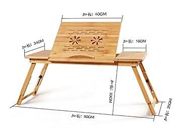 Actualizar tamaño grande Mesa de Cama Para Portátil Madera de Bambú Con Patas - Bandeja de