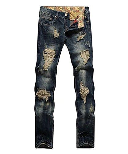 Destinyhand Mens Retro Jeans with Big Hole (OneColor 38)