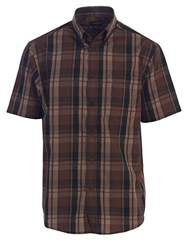 Button Mens Plaid Shirt (Gioberti Men's Plaid Short Sleeve Shirt, Dark Brown/Black, X Large)