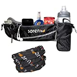 Soren Go Running Belt- 3 Pocket Waist Pack- Carries Water Bottle-Cell Phone Holder for Running-Grey/Black with Reflective Trim-The Ultimate Accessory in Mens and Womens Running- Free Buff Included