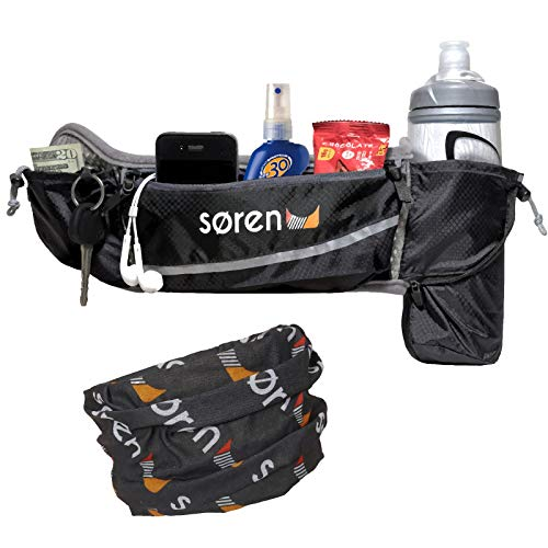 Soren Running Belt 3 Pocket Adjustable Waist Pack Carries 2 Water Bottles Cell Phone Holder Waterproof with Reflective Trim The Ultimate Accessory in Mens and Womens Running Free Buff Included ()
