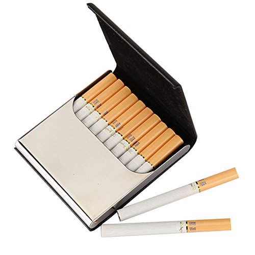 Leather Cigarette Case/Box/Holder Ultrathin Lightweight Exquisite and Portable Carrying (Black) (Box Cigarette Holder Case)