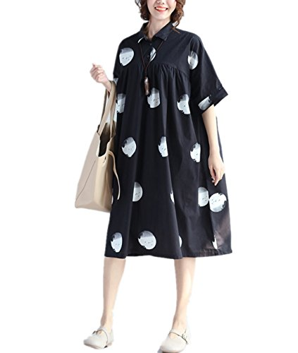 Yesno QQ3 Women Loose Button-Down Shirt Dress 100% Cotton Casual Fit High Loose Waist Dot Printed