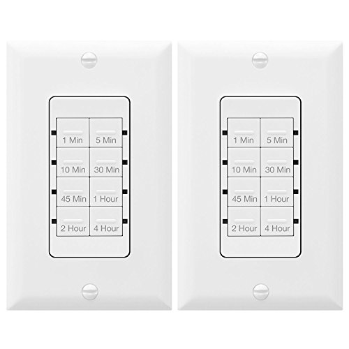 TOPGREENER TGT08-4-2PCS Wall Countdown Timer Switch, 1-5-10-30-45 min, 1-2-4 hour Delay Times, Light Switch Timer, 600W LED, 1/2Hp, Neutral Wire Required, Interchangeable Face Covers, (Down Timer)