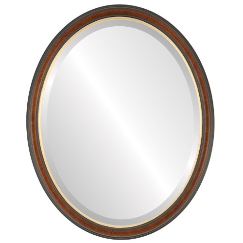 Oval Beveled Wall Mirror for Home Decor - Hamilton Style - Vintage Cherry with Gold Lining - 21x25 outside dimensions
