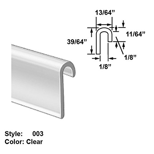 Food-Grade Vinyl Plastic J-Channel Push-On Trim, Style 003 - Ht. 39/64'' x Wd. 13/64'' - Clear - 8 ft long by Gordon Glass Co.