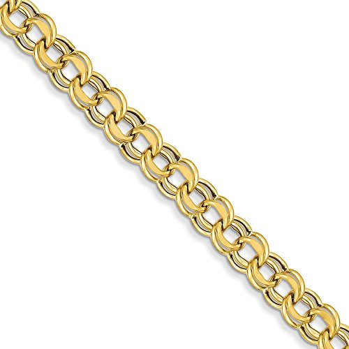 14 carats Lite 8 mm-Double Link Bracelet à charms - 18,4 cm-Fermoir mousqueton-JewelryWeb