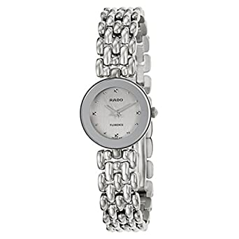 Rado Florence Damen-Armbanduhr 23mm Armband Edelstahl + GehÄuse Batterie Zifferblatt Silber R48744103