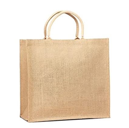 dc13fbe33 Amazon.com  Natural Jute Burlap Tote bag with Cotton webbed handles size  16