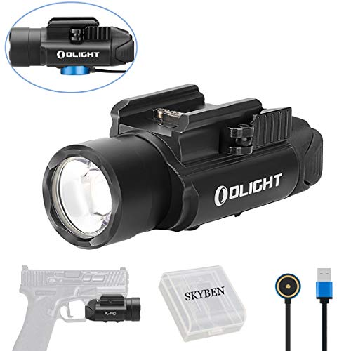 - Olight PL-PRO Valkyrie 1500 Lumens Cree XHP 35 HI NW LED Magnetic Rechargeable Weaponlight with Glock and 1913 Rail Adapter, Built-in Battery and SKYBEN Battery Case (Black)
