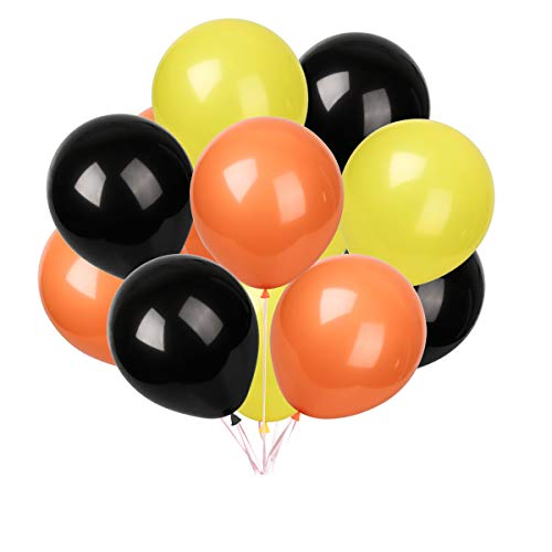 Latex balloons 100 pcs 12 inch : Black and yellow and orange balloons