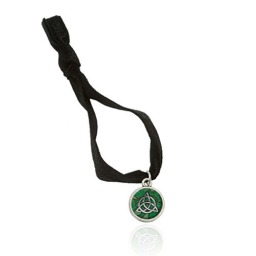 Celtic Trinity Circle Green Clovers Bracelet Double Fold Over Stretchy Elastic No Crease Hair Tie with Charm
