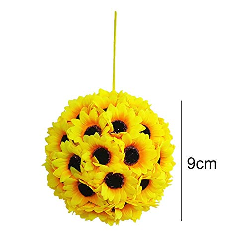 Maritown 9-14-19-24CM Artificial Silk Flower Sunflowers Bouquet Hanging Kissing Ball Garland for Home Garden Wedding Christmas Birthday Party -