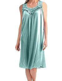 EZI Women's Satin Silk Sleeveless Lingerie Nightgown