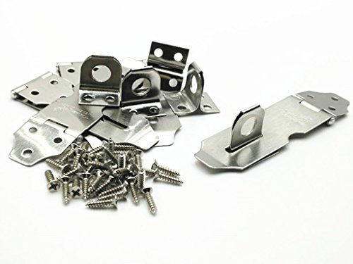 Door Metal Hasp (XJS Metal Padlock Hasp Staple Set Door Clasp Gate Lock Silver Tone with Mounting Screws (5# 5 Pcs))