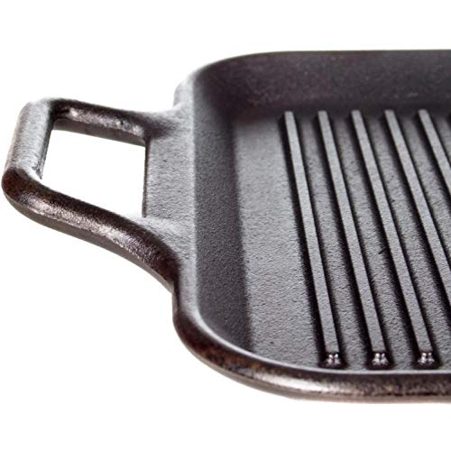Lodge 12 Inch Square Cast Iron Grill Pan. Ribbed 12-Inch Square Cast Iron Grill Pan with Dual Handles. by Lodge (Image #3)