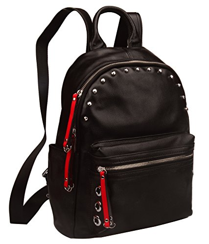 Genuine Backpack Women's Fiswiss School Leather Black Purse Fashion Backpack UA5xFvw