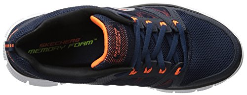 Skechers Uomo orange Basso navy Flex Collo Blu A Advantage Sneaker rCYrF