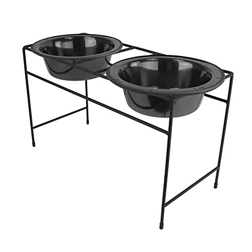 Two Dog Diner (Platinum Pets Double Diner Feeder with Stainless Steel Dog Bowls, 6.25 cup/50 oz, Black Chrome)