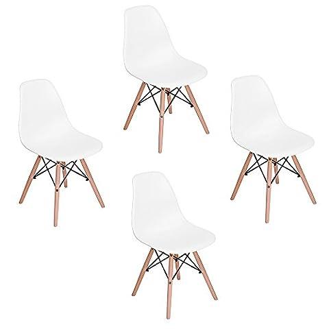 Set of 4 Eames Eiffel DSW Style Side Dining Chair, ELERANBE 18