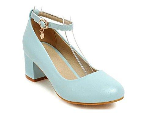 XIE La Primavera y el Otoño cortan los Zapatos Dulces Gruesos con los Zapatos de Las Mujeres Superficiales del Dedo del pie Redondo del Talón, White, 38 BLUE-38