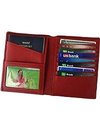 RFID Blocking Real Leather Passport Holder Cover Case & Travel Wallet for Men & Women