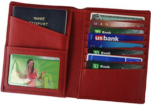AurDo RFID Blocking Real Leather Passport Holder Cover Case & Travel Wallet for Men & Women (Red) ()